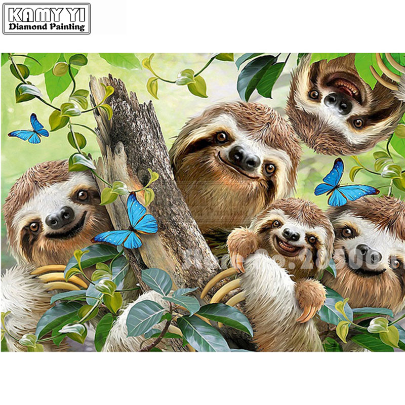 5D DIY Diamond Embroidery sloth and butterfly Animal Series full square Painting Cross Stitch Mosaic LK1|Алмазная мозаика| |