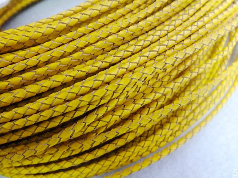 Yellow Brided Leather Cord With 3mm Cord For Necklace Jewelry Making  W-3962