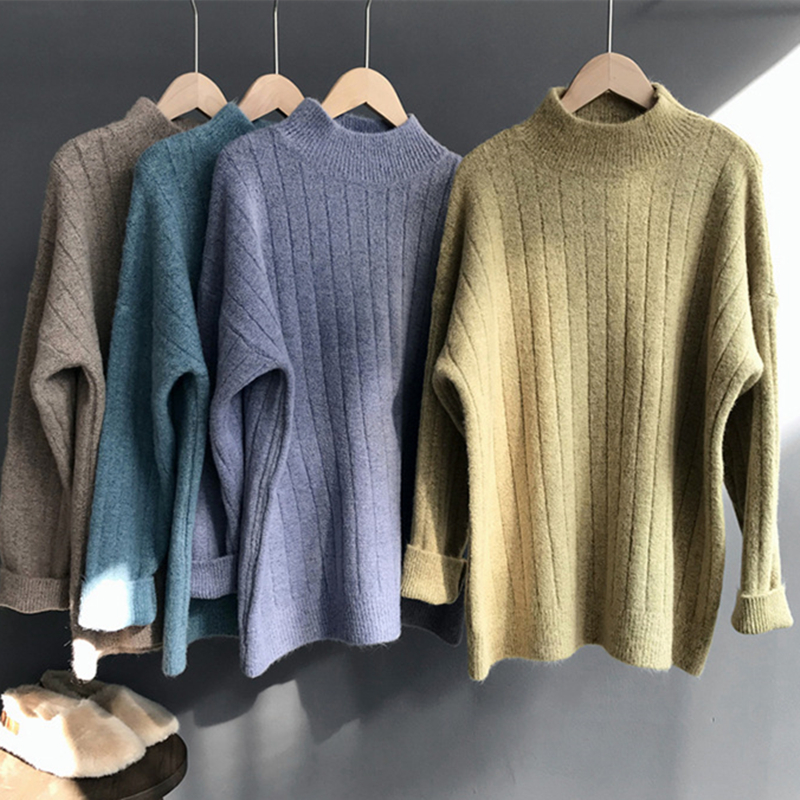 2018 Autumn Winter Soft Loose Pullovers Sweater Women Solid Thick Casual Knitting Sweater Femme Basic Turtleneck Knitwears