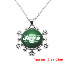 Snowflake Style Football NY Jets Glass Pendant Necklace Silver 50cm Chains Necklace For Christmas Gift Dangle Charms Jewelry(China)