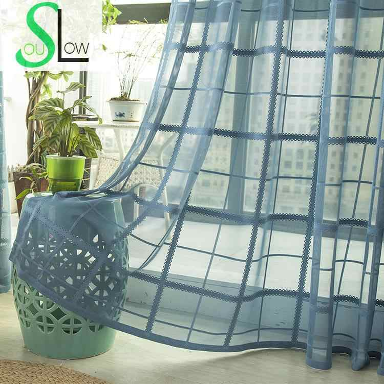 Slow Soul Sky Blue High end Curtains Plaid Tulle For Living Room Kitchen Bedroom Children Sheer Blinds Curtain Fabric Finished