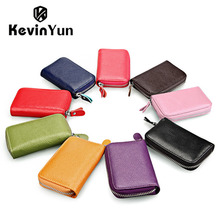 KEVIN YUN Designer Brand Fashion Candy Colors Women Credit Card Holder Genuine Leather Wallet Designer Purse ID Card Case(China)