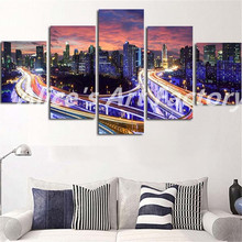 2016 5Pcs/Set Canvas Art Picture Night City Light Bridge  Modern Tableau Modular  Wall Painting For Living Room Home Decor