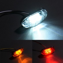 2pcs Waterproof ABS Piranha LED  Brake Signal Lamp Side Marker Blinker Light 12/24V White Yellow Red For Car Truck Trailers