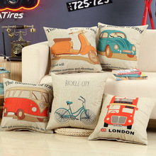 Bus Vintage Car Motorcycle Printed Cotton Pillowcase Home Decoration Textile Art Car Sofa Cushion Cover Linen Coth Pillow Case(China)