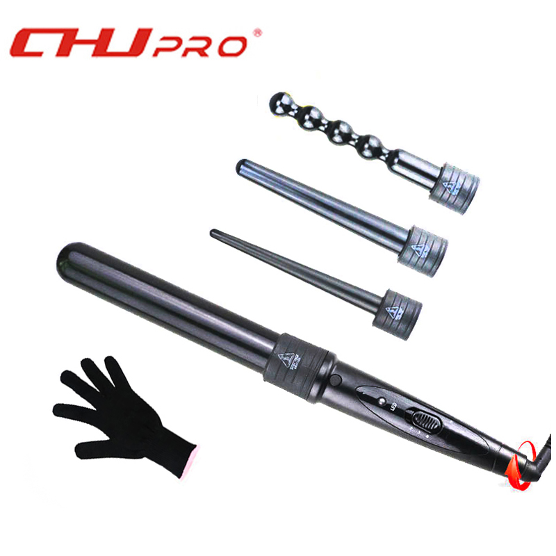 4 In 1 Clipless Ceramic Curling Wand Hair Curler Set Interchangeable Barrel 8MM-32MM Tourmaline Curling Iron Machine<br>