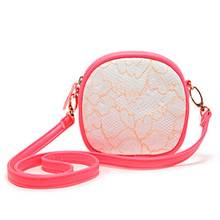 New Fashion Casual Cute Lace Flower Pattern Mini Bag Orange Fluorescent Single Shoulder Bag 48