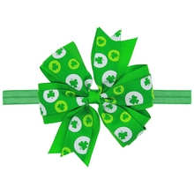 Christmas Green Bows Print Leaf Butterfly Soft Hair Band for Children Girls Headbands Headwear Hair Accessories Kids