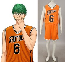 Kuroko No Basketball (Kuroko's Basketball) Midorima Shintarou orange No.6 jersey cosplay(China)