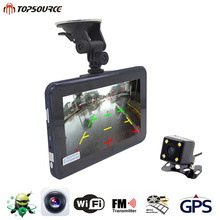 TOPSOURCE 7 Inch Car GPS DVR Navigation 16G AVIN Android Radar Detector Rearview Camera Automobile Navigator Navitel Map Sat nav(China)