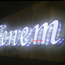 Outdoor Stainless steel perforated Led illuminated letter logo sign board