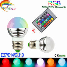 Lowest price E27 E14 GU10 LED RGB Bulb lamp AC110V 220V 5W LED RGB Spotlight RGB lighting+IR Remote Control 16 colors(China)