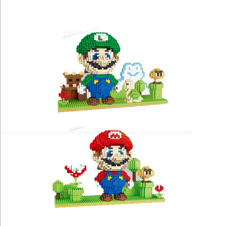 YZ Super Mario Building Blocks Mario &amp; Luigi &amp; Yoshi Diamond Microblock DIY Building Toys Cute Cartoon Action Figures Kids Gift<br>
