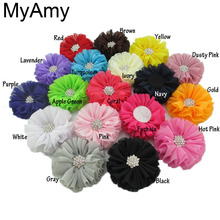 MyAmy 40 Pcs Girl Boutique Hair Flowers 2.5'' Ballerina Chiffon Felt Flowers With Clear Acrylic Rhinestone Buttons For Gifts(China)