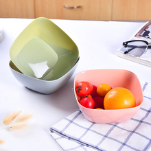Square Plastic Fruit Plate Living Room Fruit Bowl Kitchen Vegetable Washing Basin Table Sugar Fruit Salad Bowl Snack Storage Box(China)