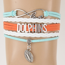 (10Pcs/Lot) Infinity Love Miami Dolphins Bracelet & Bangles Charm Handmade NFL Footbal Sports Team Bracelet Women Men's Jewelry