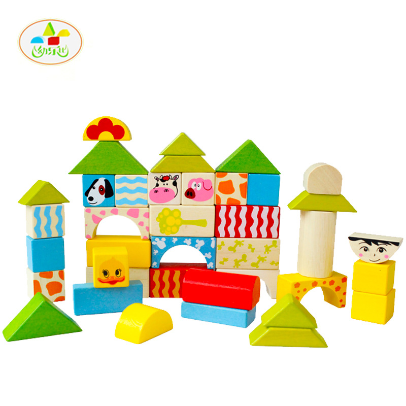 48PC Lepin Blocks Toys 2017 Colorful Animal Wood Building Bricks Playmobil  Wooden Toys For Children MZ011<br>