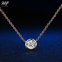 Simply Small Round 1 carat Cubic Zirconia Rose Gold Color Pendant Necklace Hot Jewelery for Women and Girls N388 N453 N454(China)