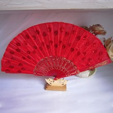 Fabric Fan Embroidered Peacock Hand Fan Traditional Chinese Fans Festival Party Hanging Decor Favors China Royal Supplies New(China)