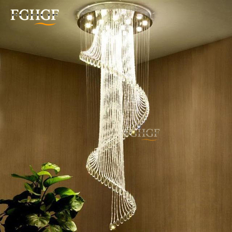 Modern Crystal Chandelier Large Size Crystal Chandeliers Spiral Lamp Long Stair Lustres Lighting Fixture for Foyer Hotel Villa (1)