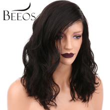 "BEEOS 10""-16"" 150 Density Brazilian Lace Front Wigs With Baby Hair Non Remy Wavy Short Human Hair Wigs For Black Women"