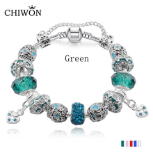 Fashion plated Silver Field of Daisies Murano Glass&Crystal European Beads Fits original Style charms Bracelets BL030(China)