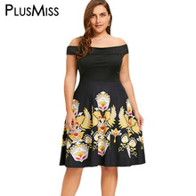 PlusMiss Plus Size 5XL Off The Shoulder Party Wear Dress Women Sexy Evening Floral Print Black Midi Dress Robe Femme Big Size(China)