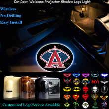 2x Wireless Car Door Senor Welcome Los Angeles Angels of Anaheim Logo Ghost Shadow Spotlight Laser Projector Puddle LED Light