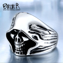 BEIER Wholesale Cheap Cool Hell Death Skull Man Never Fade Punk Biker High Quality Ring BR8-156(China)