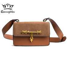 2017 Women bag female Fashion lock small bag scrub small square package shoulder Messenger bag tide Bolsa feminina(China)