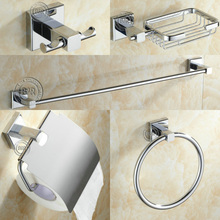 becola Chrome Finish Stainless Steel Bathroom Accessories Set,Towel ring,Soap dish,Robe hook,Paper Holder,Towel Bar,5 pcs/set(China)