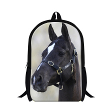 Latest design black plush horse backpack for cool boys animal 3D print bookbag school bags for teenagers cute girls bookbags