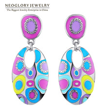 Neoglory Enamel Colorful Ethnic Bohemian Chandelier Long Round Earrings for Women Fashion Big India Jewelry Vintage 2017 ENA1(China)