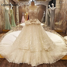 LS07532 turkish wedding dress ball gown cap beading sleeves corset back abiti da sposa ivory and champagne real photos(China)