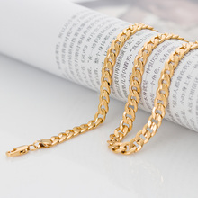 Polished Solid hammered link Gold Chain for men women plated necklace