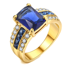 Top Quality New Exquisite Square Blue Crystal Ring Micro P  Premium Zirconia for Women Luxury Fashion Jewelry
