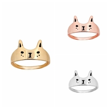 yiustar New Fashion Ring Cute Love Cat Ring Kitty Cat Head Face Rings for Women Party Gifts R076(China)