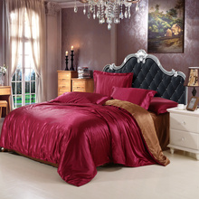 4pcs Chinese Silk Bedding Set Queen Size King With Silk Sheets Duvet Cover Bed Sheet Bedlinen Silk Bedsheet Luxury Satin Bedding(China)