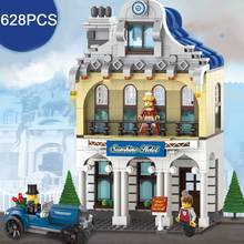 628PCS/SET Sunshine Hotel Luxury Villas Model Building Blocks Hotel VIP Guest Figures Blocks DIY Assembling Toy For Girl's Gift