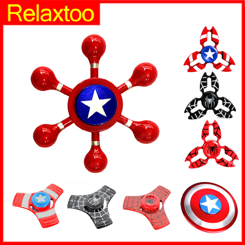 Metal Super Hero Fidget Hand Spinner Iron Man Spinner EDC Rudder Spider Man Finger Spiner Adult Kid Child Toy Creative Gift Gyro