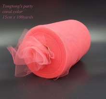 "Coral TULLE Roll Spool 6""x100yd Tutu Wedding Gift Craft Bow Sheer Mesh Organza Ribbon Wedding decoration Party Gift Bow"