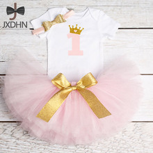 Newborn Baby Girl Clothing Sets Little Girl First Birthday Outfits Baby Romper+Skirt+Headband Infant Party Costume Kids Clothes(China)