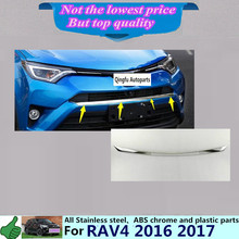 For Toyota New RAV4 2016 2017 car body cover ABS chrome Lamp trim head Front bottom Grid Grill Grille racing Strip frame 1pcs