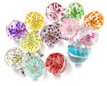 5pcs 27x20mm Hot sale Jewelry Crystal Glass Real Mix Colors Dried Flower Ball Necklace Pendant; Necklaces For Women,Girl Gifts