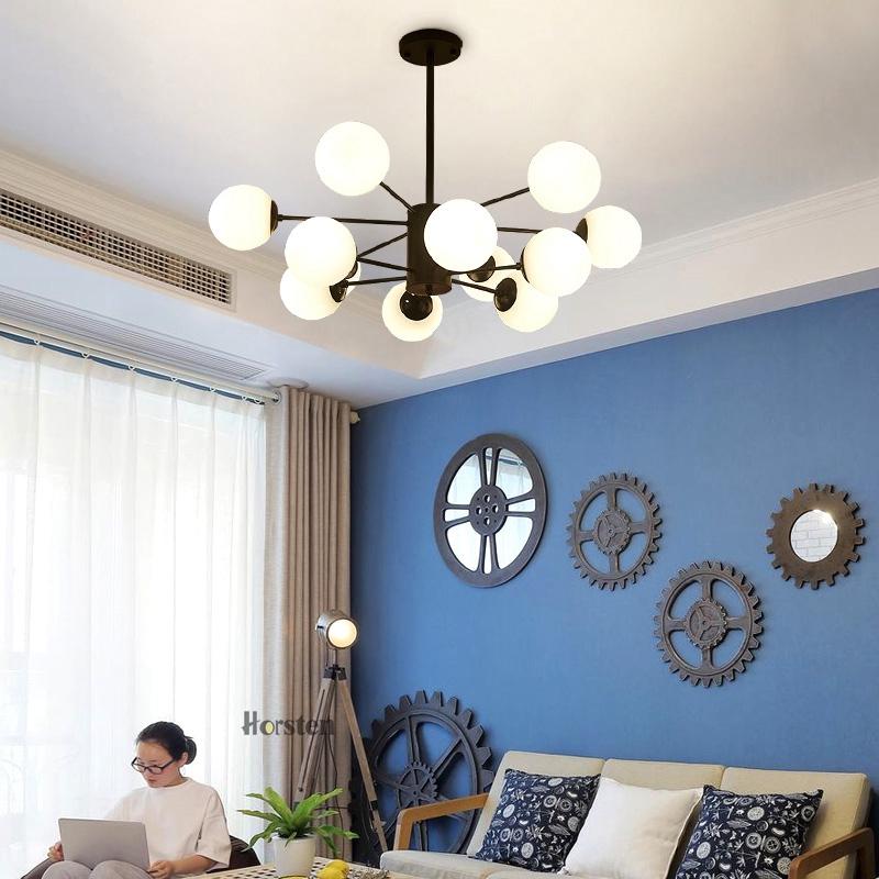 Horsten Nordic Creative Magic Bean Pendant Lights 6812 Heads Glass Ball Pendant Lamp For Living Dining Room Cafe Restaurant E27 (5)