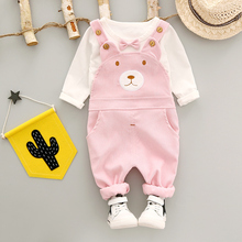 Baby Girls Clothes Set Overalls 2017 New Fashion Autumn 1-3 year Girl Cotton O-Neck Strip Kids Children Clothing Sets A267(China)