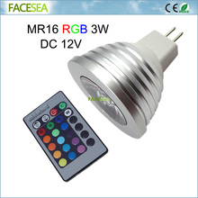 1/4/6/10pcs 3W LED RGB spotlight lamp MR16 DC12V 16 Colour dimmable light spot bulb bombilla + 24key IR Remote Control