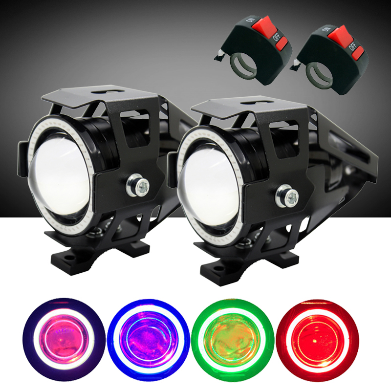 SUNKIA 2Pcs/Lot with Switch High Power U7 Motorcycle Projector Headlight 3000LM Motorbike Head Fog Lamp Angle Eyes + Devil Eyes<br>