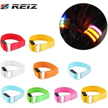 REIZ Arm Warmer Belt Bike LED Luminous Armband LED Safety Sports Reflective Belt Strap Snap Wrap Light up Arm Band Armband(China)