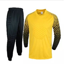 New Yellow Goalkeeper Suit Sponge Protective Football Men Top Quality Jerseys Goalkeeper Jersey Uniform Sets Long Sleeved(China)